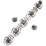 Mexico Sterling Silver Amethyst Link Bracelet Earrings C1920-40 Signed Mexican Jewelry