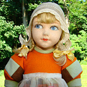 Old Norah Wellings Felt Doll Dutch Girl Original Outfit Second Prize