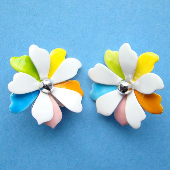 Vintage Sarah Coventry Enamel Clip Earrings Pastel Petals 1967