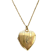 Vintage Gold Filled Heart Locket Pendant Necklace Engraved Rita