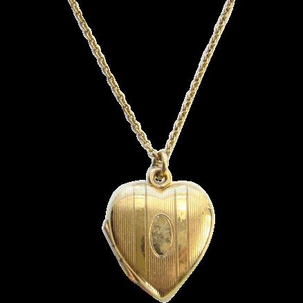 Vintage Gold Filled Heart Locket Pendant Necklace Engraved Rita
