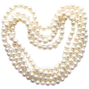 Vintage Fresh Water Pearl Necklace Very Long 64 Inch 102 Pearls Knotted Flapper Length