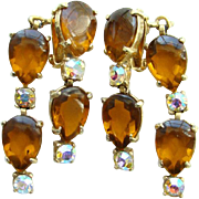 Vintage Designer Selro Drop Dangle Earrings Amber  Cabochon Rhinestones Front Back Signed