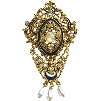 Vintage Florenza Faux Opal Rhinestone Brooch Pin Signed