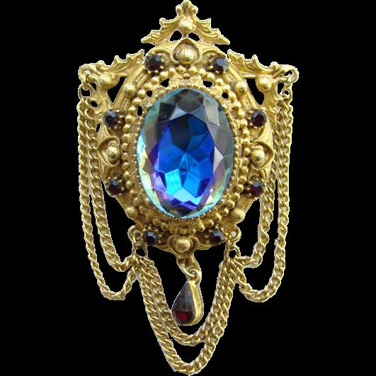 Vintage Florenza Blue Heliotrope Rhinestone Brooch Pin Signed