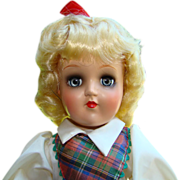 C1949-50 Ideal Toni Doll P-90 Blonde Plaid Dress in Original Box Gorgeous