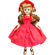 C1957 Vogue Jill Doll Blonde in Red Taffeta Dress Ribbon Bow Hat