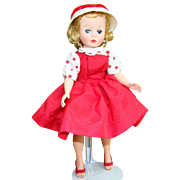 C1959 Cissette Doll in 910 Red Taffeta Jumper Dress Hat Madame Alexander