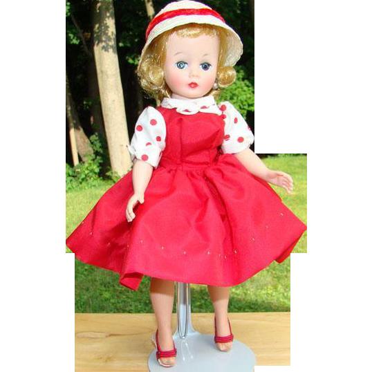 C1959 Cissette Doll in 910 Red Taffeta Jumper Dress Hat Madame Alexander