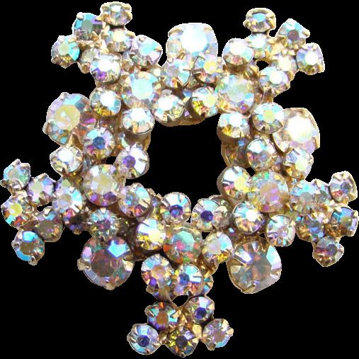 Juliana DeLizza & Elster Rhinestone Brooch Aurora Borealis Snowflake Pin