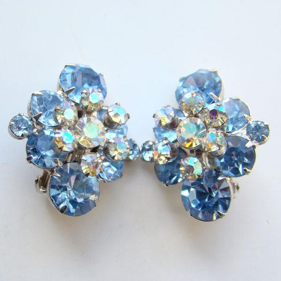 Juliana DeLizza & Elster Rhinestone Clip Earrings Sapphire Blue Floral Spray