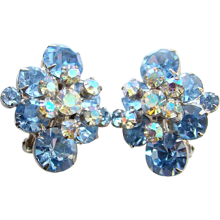 Juliana DeLizza & Elster Rhinestone Clip Earrings Sapphire Blue Floral Spray Book Piece