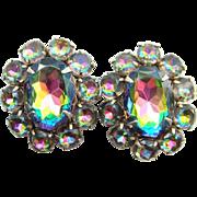 Vintage Heliotrope Rhinestone Clip Earrings Pink Green Silver Tone