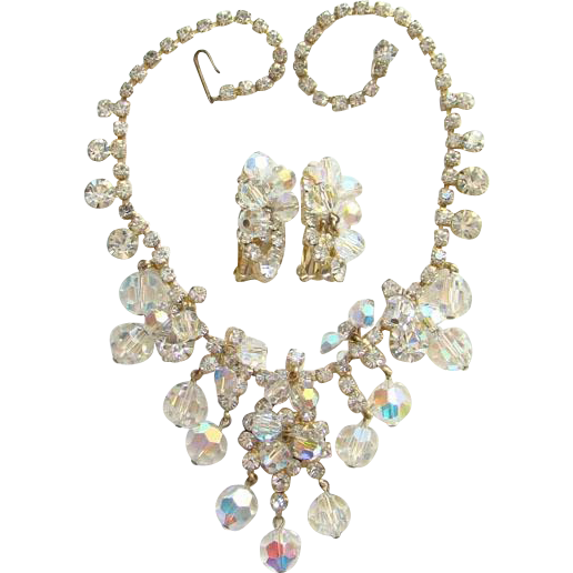 Vintage DeLizza & Elster Rhinestone Bib Necklace Earrings Clear Bead Dangles