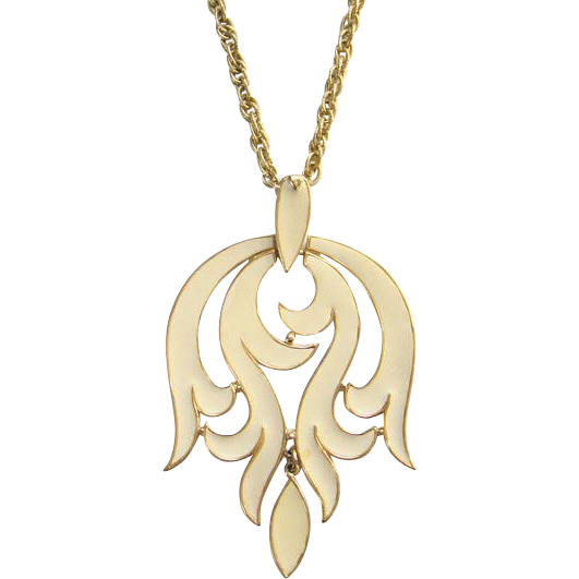 Vintage 1970s Crown Trifari Runway Pendant Necklace Cream Enamel Signed