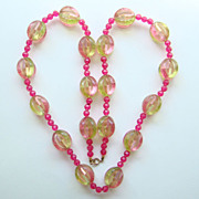 Vintage Mod Funky Plastic Lucite Bead Necklace Hot Pink Pale Mint Green