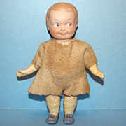 A&M Painted Eye Googly Doll #254 Bisque Head 6.5 Inch Original Dress