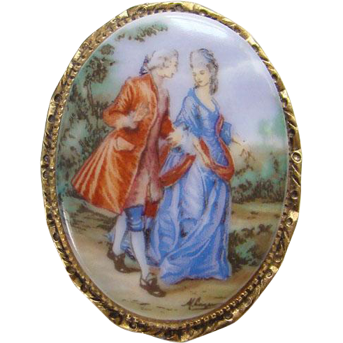 Vintage Oval Porcelain Brooch Pin Hand Painted Design 18th Century Couple Man Woman Pastoral Romantic
