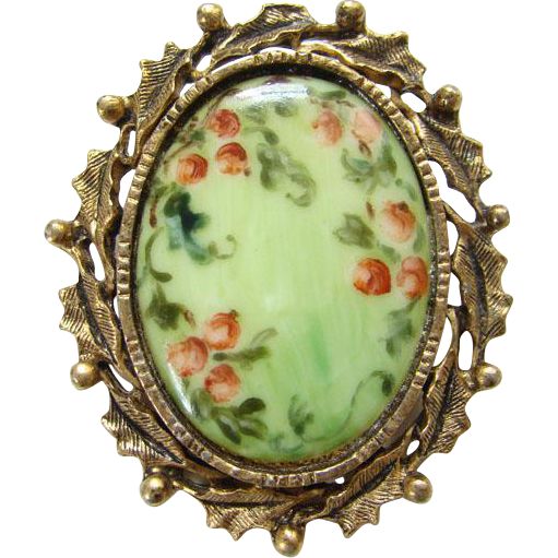 Vintage Hand Painted Porcelain Brooch Victorian Style Pink Floral Flowers Scroll Holly Leaf Goldtone Setting