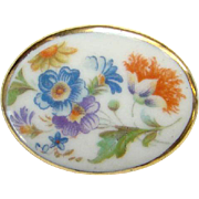 Vintage Limoges Porcelain Oval Brooch Stylized Hand Painted Flowers