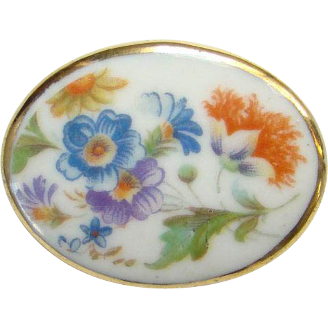 Vintage Porcelain Oval Brooch Pin with Stylized Flowers