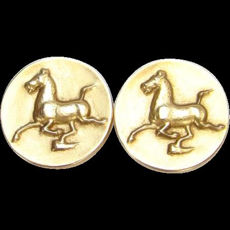 Alva Museum Replica Flying Horse of Kansu Gold Tone Earrings 1974