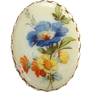 Limoges Hand Painted  Floral Flower Porcelain Brooch Oval Stylized Flowers