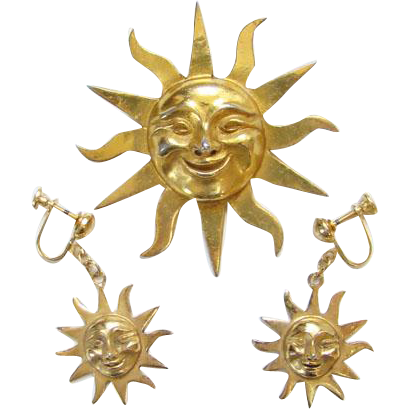 Alva Studio Museum Replica Sun of Knowledge Dangle Earrings Brooch C1970s Goldtone