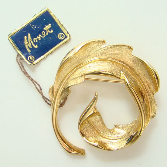 Vintage Monet Gold Tone Pin Fern Design C1970s with Hang Tag