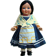 Vintage Italian Italy Ratti Woman Doll in Provincial Costume 18 Inch Gorgeous