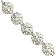 1961 Sarah Coventry Chunky Silvertone Powder Puff Link Bracelet 9815
