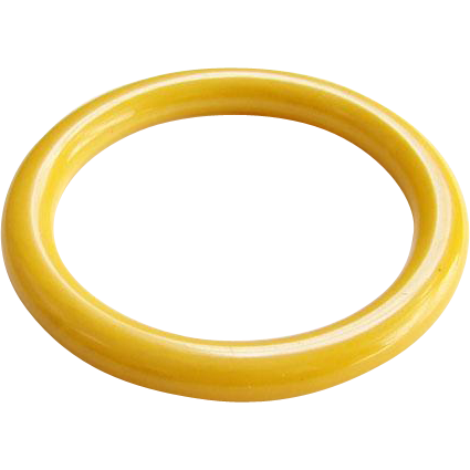 Vintage Sunflower Sunshine Yellow Bakelite Bangle Spacer Bracelet Tests Positive Art Deco Period Costume Jewelry