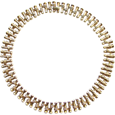 C1950 Crown Trifari Goldtone Link Choker Necklace Pre 1955 Pat Pending