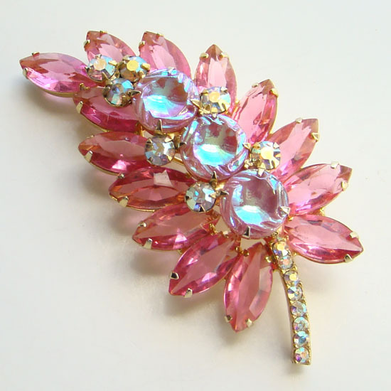 Juliana DeLizza Elster Pink Scooped Out Rhinestone Brooch Pin AB Coated C1963