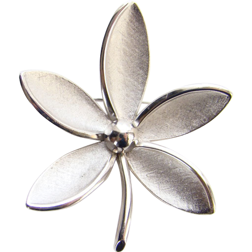 Vintage Crown Trifari Brushed Silver Tone Flower Brooch Pin Rhodium Plated