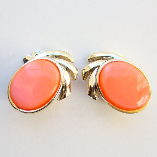 Vintage Coro Thermoset Plastic Clip Earrings Oval Melon Orange Signed