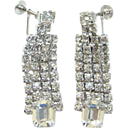 Vintage Clear Rhinestone Drop Dangle Earrings Screw Back Silvertone Elegant