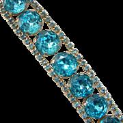 Vintage Dynamic Turquoise Rhinestone Cocktail Bracelet Goldtone Frame Setting