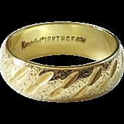 Signed Designer Uncas Karatclad 18KT HGE Wedding Band Ring Size 8 Never Worn