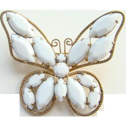 Juliana DeLizza Elster Butterfly Pin Brooch White Rhinestone Book Piece