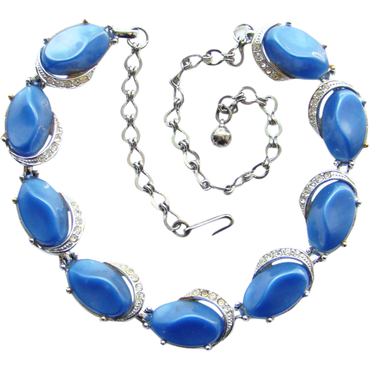 Vintage Cornflower Blue Thermoset and Rhinestone Choker Necklace Unsigned C1950s