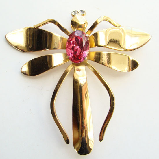 Vintage Coro Pink Rhinestone Gold Tone Dragonfly Pin Brooch
