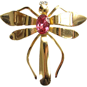 Vintage Coro Pink Rhinestone Gold Tone Figural Dragonfly Pin Brooch