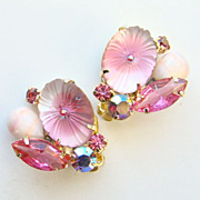 Juliana DeLizza Elster Rhinestone Earrings Oval Matt Pink Pillowcase Stone