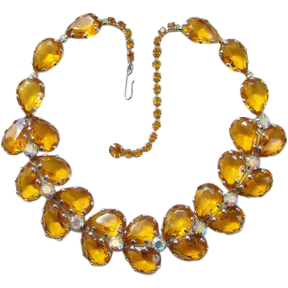 Vintage Amber Aurora Borealis Teardrop Rhinestone Choker Necklace Open Back Costume Jewelry