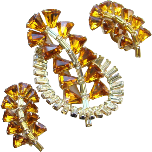 Vintage Topaz Amber Rhinestone Earrings Brooch Demi Parure Set Kite Baguette Stones