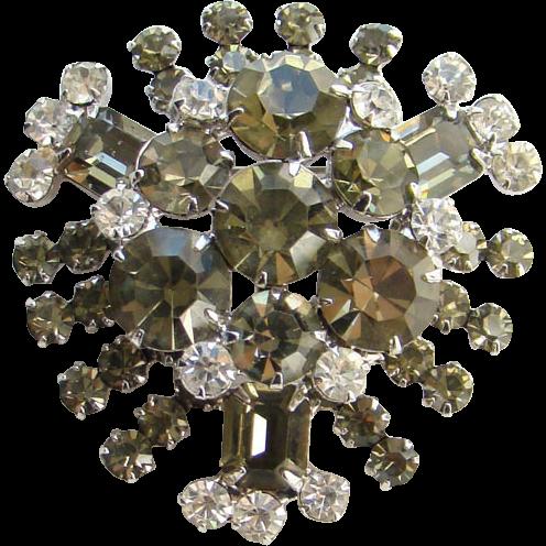 Juliana DeLizza Elster Rhinestone Pin Brooch Brilliant Clear Smoke Stones C1960s