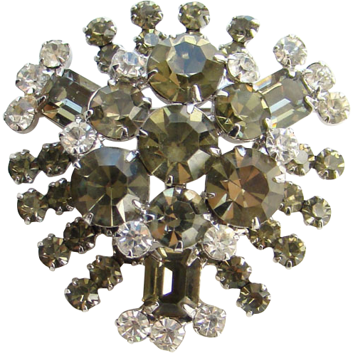 Juliana DeLizza Elster Rhinestone Pin Brooch Brilliant Clear Smoke Stones C1960s