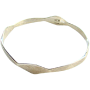 Vintage Sterling Silver Bangle Bracelet Modernist Style Design Marked N.E.W.