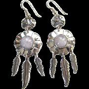 Southwestern Hippie Style Pierced Dangle Earrings Sterling Silver Amethyst Vintage
